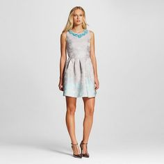 Women's Jacquard Fit and Flare Dress with Embellished Neckline - Allen B : Target $48.98