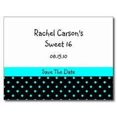 Blue and Black Polka Dots Save The Date Postcard
