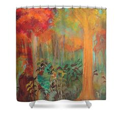 Autumn Shower Curtain featuring the painting Enchantment In Autumn by Robin…