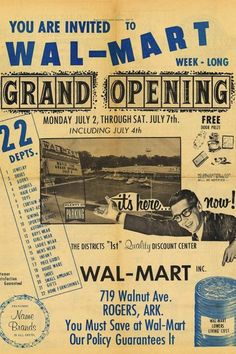 First Ever Ad For The First Ever Wal-Mart Walmart's First Ad: 1962 when Sam Walton opened his first store at 719 Walnut Avenue in Rogers, Ark.Walmart's First Ad: 1962 when Sam Walton opened his first store at 719 Walnut Avenue in Rogers, Ark.