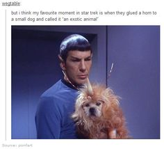 Spock with an exotic animal