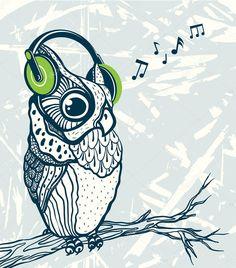 Výsledek obrázku pro sova a hudba Tier Wallpaper, Owl Wallpaper, Animal Wallpaper, Muse, Music Drawings, Owl City, Animal Totems, Beautiful Birds, Sleeve Tattoos