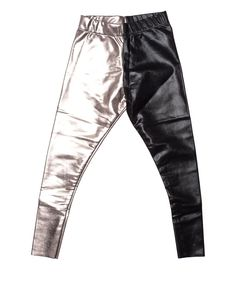 silver and black glitter pants.