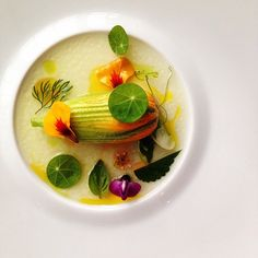 "Crab Boudin ""en courgette"" saffron water vinaigrette by chef Jason Bangerter #plating #gastronomy"