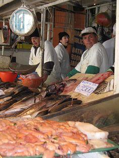 Venta de pescados y mariscos, Mercado Central Santiago de Chile