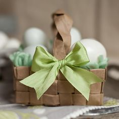 Make this Easter basket by upcycling a brown paper grocery bag. See tutorial for steps.