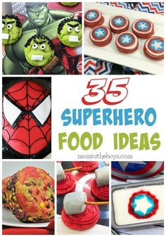 35 Superhero Food Ideas To Make You Feel Like Super Mom! 35 Superhero Food Ideas To Make You Feel Like Super Mom!May 2018 By We earn commission from purchases made via product links in our po Avengers Party Foods, Superhero Party Food, Superhero Ideas, Spider Man Party, Avenger Party, Avenger Birthday Party Ideas, Birthday Food Ideas For Kids, Birthday Party Snacks, Snacks Für Party