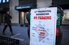 Parking restrictions are posted on meters on January 19, 2013 in Washington DC, part of preparations for the second inauguration of US President Barack Obama. Paintbrushes in hand, Barack and Michelle Obama kicked off inauguration weekend Saturday at a volunteer event at a Washington school, one of hundreds of such events organized across the US. AFP PHOTO/Jewel Samad (Photo credit should read JEWEL SAMAD/AFP/Getty Images) Presidential Inauguration, Barack And Michelle, Event Organization, Us Presidents, Barack Obama, Washington Dc, Photo Credit, Jewel, Two By Two
