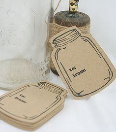 24 Mason Jar Kraft Tags Cardstock Labels by horsescantering, $7.99