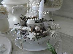 Adventskranz - Shabby Chic / Nostalgie Adventsgesteck - ein Designerstück von whitevintageflair bei DaWanda