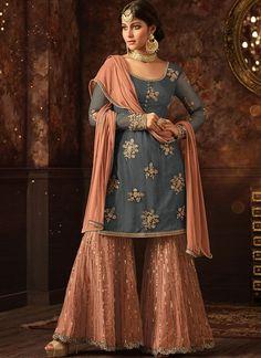 Buy Magenta Pink Embroidered Sharara Suit with Sequins and Stone Work. Shop a Party wear designer Sharara Suit Online, Purchase a Designer Sharara Suit at Best price Designer Anarkali Dresses, Designer Salwar Suits, Pakistani Dresses, Indian Dresses, Indian Outfits, Designer Dresses, Indian Clothes, Eid Dresses, Desi Clothes
