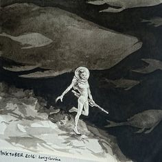 Floaty SicFi Sunday day 16 #Inktober #space #diver #lady #illustration #scifi #drawing #penandink #ink #comic