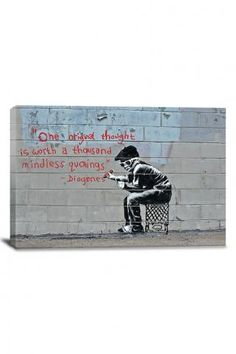 Banksy One Original Thought Worth a Thousand Quotings Canvas Print ($29.99)