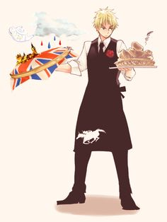 I love everything about this. England looks sexy, his apron is awesome (it's America riding a horse guys!) and look he can bloody cook!