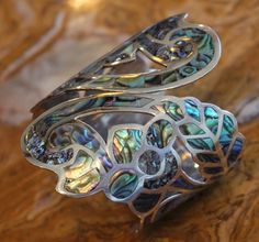Natural, Antique -- Pre 1948 Mexico Sterling Silver Abalone Floral Clamper Bracelet Taxco 63 Grams   eBay