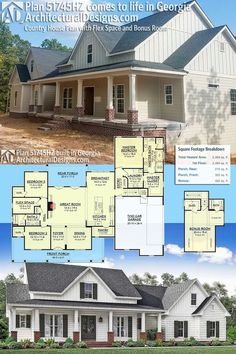 Our client is building modern farmhouse plan 51745HZ in reverse layout in Georgia.Ready when you are! Where do YOU want to build?Specs-at-a-glance 3 beds 2 baths 2,400+ sq. ft. + a bonus room with bath over the garage