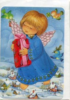 Angel-Advent-Calendar-with-Envelope-from-Denmark-900030A