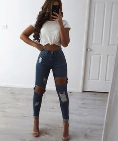 Whole outfit from my store check it out! North West Tee and Miami Jeans. Hair extensions by my babe Teenage Outfits, Teen Fashion Outfits, College Outfits, Jean Outfits, Fall Outfits, Summer Outfits, Teenager Fashion Trends, Ripped Jeggings, Trendy Swimwear