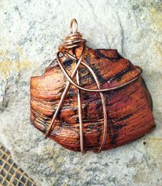 Artisan Pendant Copper Wrapped Russet Shell, Rustic Pendant, Earthy By Design Jewelry by EarthyByDesign on Etsy