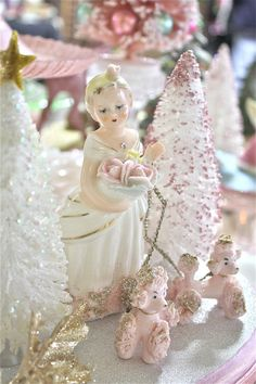 How do I describe this beautiful Christmas vignette?  Romantic, chic, vintage,delightful,unique,soft, pastel, glittery, OOAK,sweet  I have