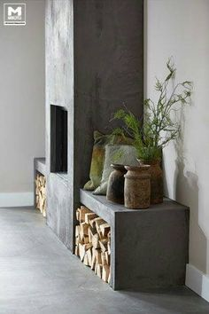 I Design, You Decide: Mountain Fixer-Upper - The Fireplace Emily Henderson Lake House Fixer Upper Mountain Home Decor Fireplace Ideas Rustic Refined Simple White Wood Stone 191 Concrete Fireplace, Home Fireplace, Modern Fireplace, Fireplace Surrounds, Fireplace Design, Fireplace Ideas, Concrete Wood, Fireplace Candles, Country Fireplace