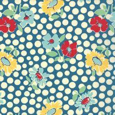 TISSU FLEURI VINTAGE BLEU A POIS 45cm x115cm : Tissus à thème par ohzeze