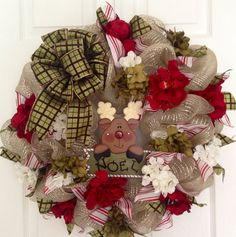 Holiday Reindeer deco mesh wreath on Etsy, $52.00