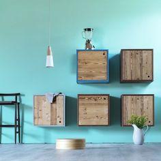 peinture turquoise et armoires murales pour la salle de bains - Salle De Bain Turquoise Et Bois