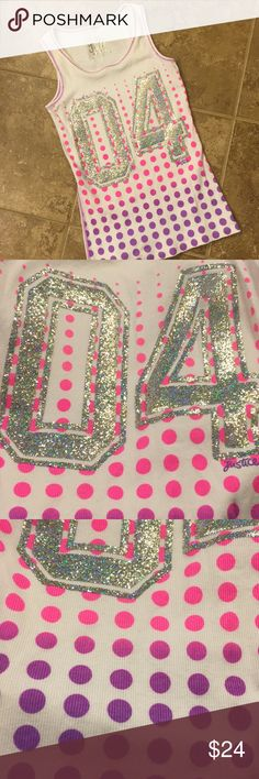 💕Polka Dot and Bling Party Tank Sale💕 Justice tank top. Pink and purple polka dots and bling! Sporty, cute, fun and girly!  A must have for your favorite girl!!! 💕 Justice Shirts & Tops Tank Tops
