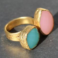 Egypt Ring - 24k Gold Dipped Double Gemstone Floating Ring – MeiElizabeth