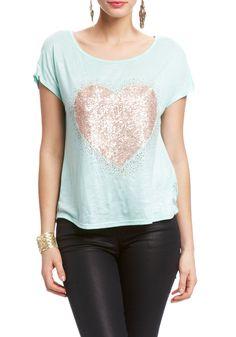 Rhinestone Heart Lace Top