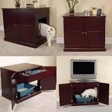 Geschikt voor praktisch iedere kast: gat erin zagen als ingang en bak erin zetten. Al zullen sommige katten wel aarzelen als er een TV bovenop lawaai staat te produceren...