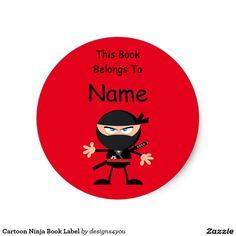 Cartoon Ninja Book Label Bright Red Classic Round Sticker