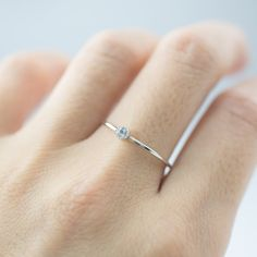 Aquamarine solitaire ring in white gold, dainty stacking ring, march birthstone jewelry, small genuine aquamarine ring Diamond Bands, Diamond Wedding Bands, Diamond Cuts, Wedding Rings, Morganite Engagement, Engagement Rings, Aquamarin Ring, Ring Verlobung, Solitaire Ring
