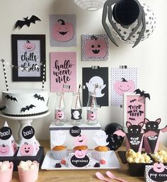 🥳 • Linda combinación para celebrar un Halloween diferente 🕷 👻 Créditos: 👉🏻 📸 @2sisterscandy #ecumple #halloween #ideas #DIY #halloween2019 #ecumpleween Halloween Elegante, Chic Halloween, Pink Halloween, Halloween Party Games, Halloween Kids, Halloween Treats, Halloween 1st Birthdays, Fall Birthday Parties, 5th Birthday Party Ideas