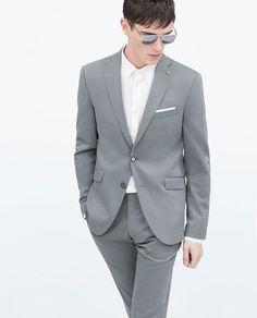Two-tone grey wool blazer. Grey. $189