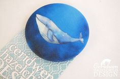Whale Fabric Badge Large Badge Pin Badge Fabric Covered Button Mothers Day Gift by ceridwenDESIGN http://ift.tt/258pcbB