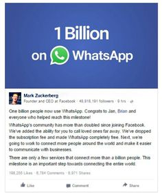 #WhatsApp crossed 1 billion users, #Facebook CEO #MarkZuckerberg announced with his post.