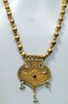 Vintage 22 K gold Pendant beads necklace jewelry by TRIBALEXPORT, $2999.00