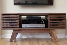 This is a media console I designed and built for myself. The legs and speaker slats are solid walnut, the body is walnut veneered audio grade MDF. Vinyl Storage, Record Storage, Lp Storage, Stereo Cabinet, Record Cabinet, Home Furniture, Furniture Design, Audio Room, Speaker Design