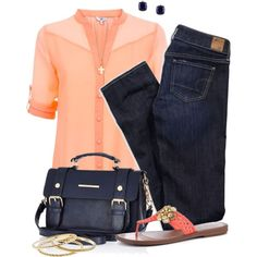 Coral&Navy Spring, created by hollyhalverson on Polyvore