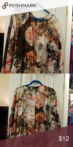 Jlo sheer top Jennifer Lopez top. The top is completely sheer... it needs an undershirt to wear underneath. Perfect for fall. Very cute. Jennifer Lopez Tops Blouses