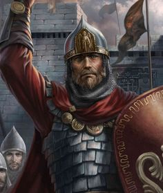 m Paladin Hvy Armor Shield Cloak Helm Castle Guard Leader Alexander Nevsky med Greek Warrior, Viking Warrior, Fantasy Warrior, Fantasy Art, Character Portraits, Character Art, Statue Tattoo, Vikings, Islamic Paintings