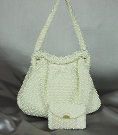 Mint vintage white bead handbag with coin purse by PurseFancy