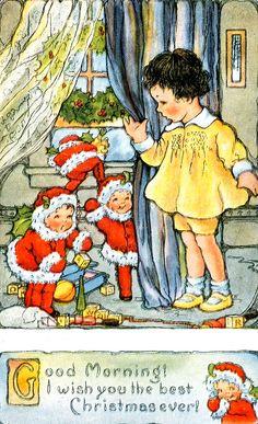 Vintage Christmas Morning Elves