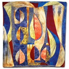 "Textiles | Andrée Fredette: Green Leaf Study, 58 x 55"""