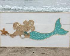 Handmade Swimming Mermaid with Rope Beach Pallet Art Coastal   Etsy