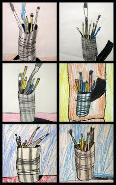The Art Room: First Grade Still lives ~ tin can & art materials still life .... I love this!