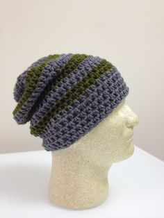 Hand Crocheted Gray and Olive Green Slouchy Beanie, Tam, Hipster, Hippie hat on Etsy, $20.00