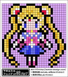 【美少女戦士セーラームーン】セーラームーンのアイロンビーズ図案 | サキエルのアニメドット絵ブログ